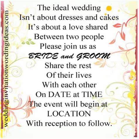 informal wedding celebration wording informal wedding invitation wording exles