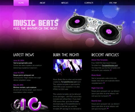 html themes music 15 free music html website templates templatemag