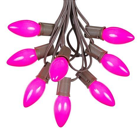 brown wire lights sale 100 pink ceramic c9 vintage light set on brown