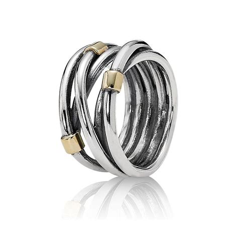 pandora silver and 14ct gold intertwined ring 190383 from