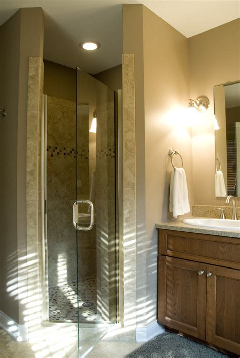 neo angle shower Bathroom Traditional with glass shower