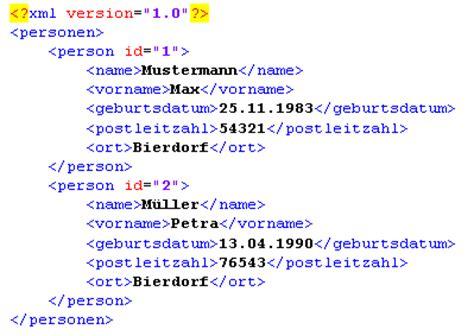 Muster Xml Beispiel