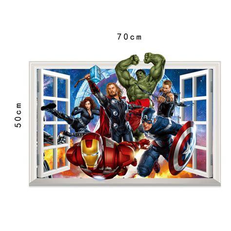 Wall Sticker Avenger 3d Iron Captain America Thor the 3d window effect wall sticker captain america iron thor wall