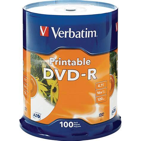 Dijamin Verbatim Dvd R 16x verbatim dvd r 4 76gb 16x white inkjet printable 100 pack