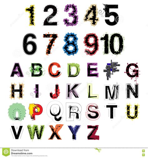 decorative letters and numbers set of artistic vector colorful modern decorative alphabet