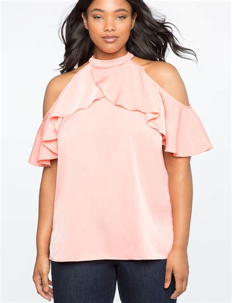 Ruffle Sleeve Shoulder Top ruffle sleeve cold shoulder top s plus size tops