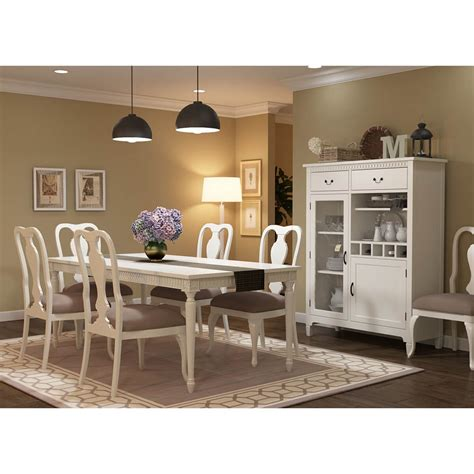 anderra mahogany wood white  piece dining room set