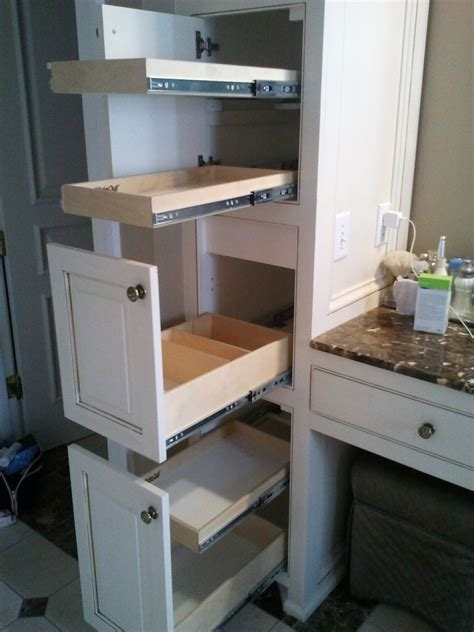 bathroom vanity slide out shelves shelfgenie of oklahoma has slide out bathroom storage