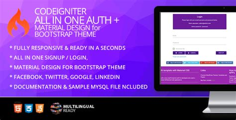 bootstrap themes codeigniter codeigniter ion auth template with material design for