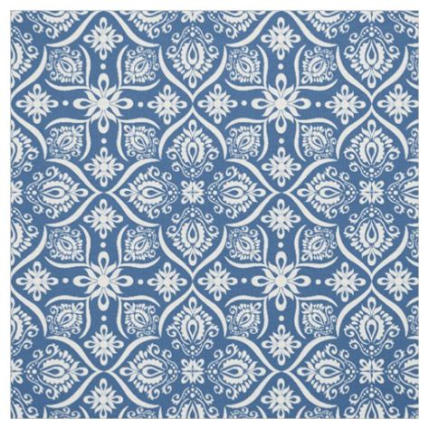 blue elegant pattern elegant damask pattern blue and white fabric zazzle