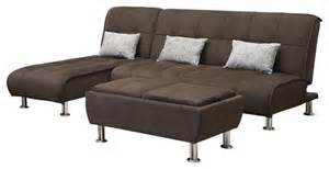 brown microfiber 3 sectional sofa futonsleeper