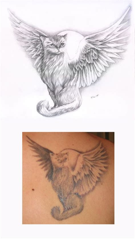 angel cat tattoo designs 40 best cat with wings tattoos images on
