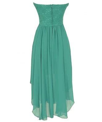 Strapless Chiffon Midi Dress strapless chiffon and lace midi dress in jade