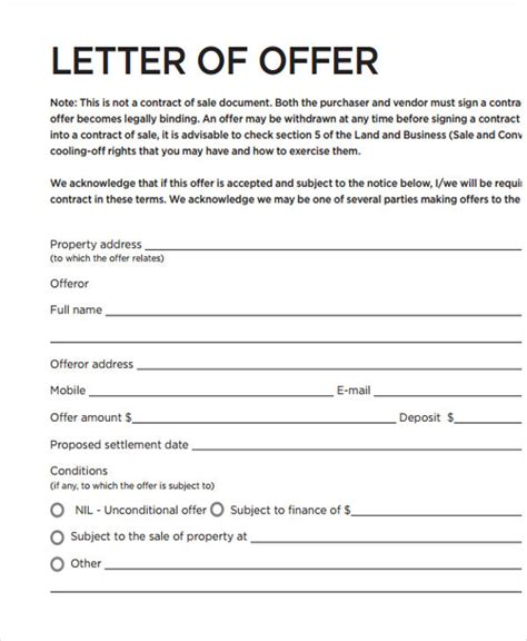 formal offer letter template 11 free word pdf format