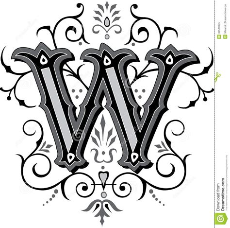 beautiful ornament letter w royalty free stock photo