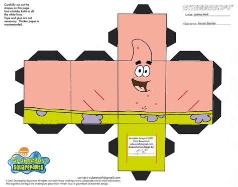spongebob 3d cut out printable paper crafts projects to
