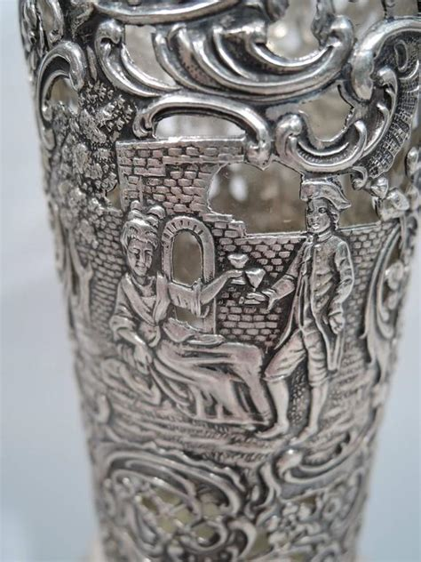 Antique Silver Glass Vase by Large Antique German Rococo Silver And Glass Vase For Sale