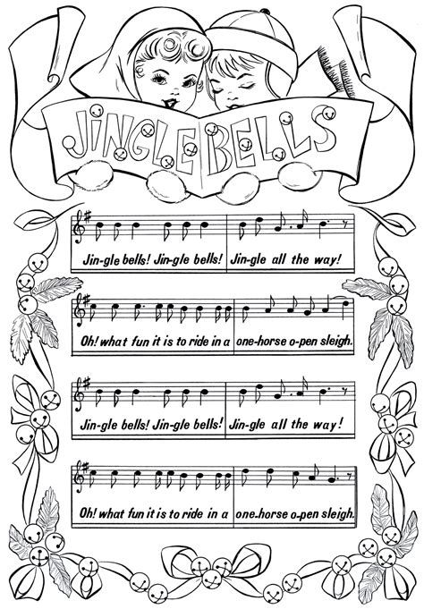 sheet music coloring pages printable christmas coloring page jingle bells the