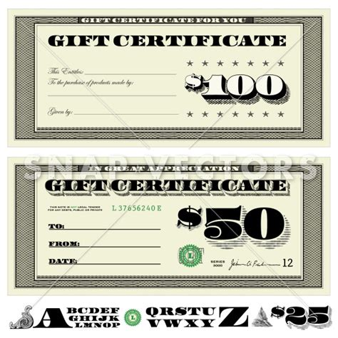 free money gift card template vector money gift certificate set snap vectors clipart