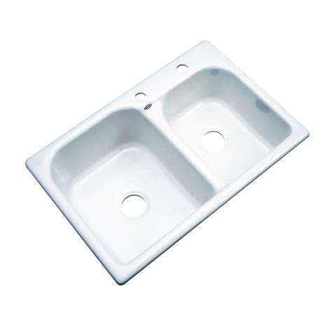 Thermocast Cambridge Drop In Acrylic 33 In 2 Hole Double 2 Kitchen Sink