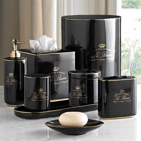 Le Bain Black Gold Porcelain Bathroom Accessories Bathroom Accessories Black