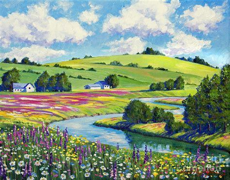Landscape Artists Fields Wildflower Fields Painting By David Lloyd