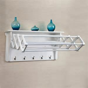 Wall shelf with collapsible drying rack and hooks product details page