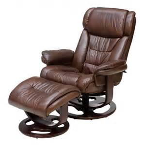 reclining swivel leather armchair ottoman lot 116