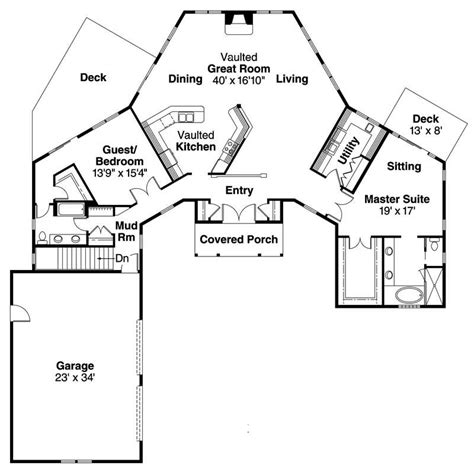 Great Room Floor Plans Single Story by Craftsman Ranch Home With 2 Bedrms 2385 Sq Ft Plan