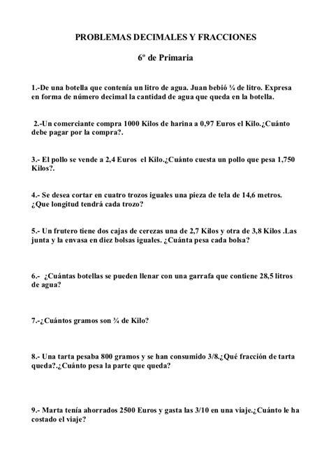 preguntas matematicas del milenio problemas de matematicas decimales y fracciones 6 186 de primaria