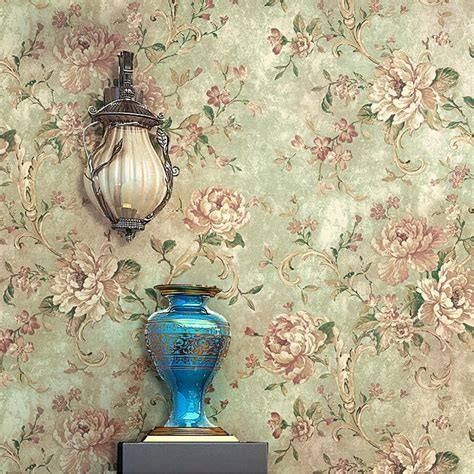 vintage wholesale home decor retro vintage flowers thicken wallpaper durable wallpapers