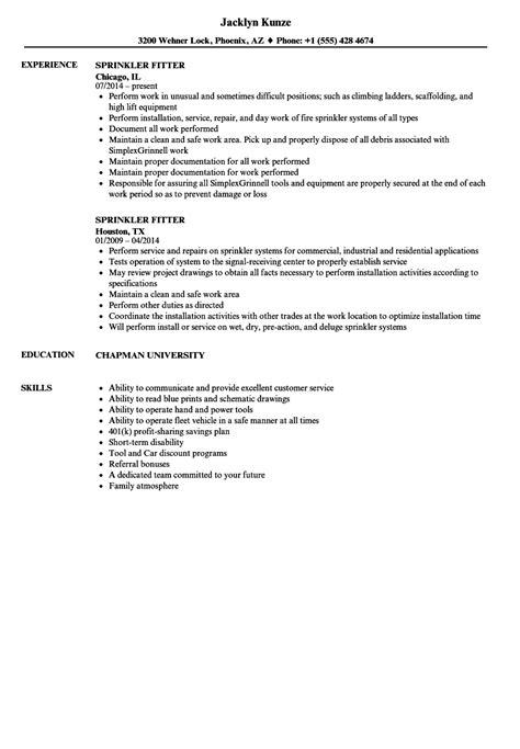 Apprentice Glazier Resume by Sprinkler Fitter Resume Sles Velvet