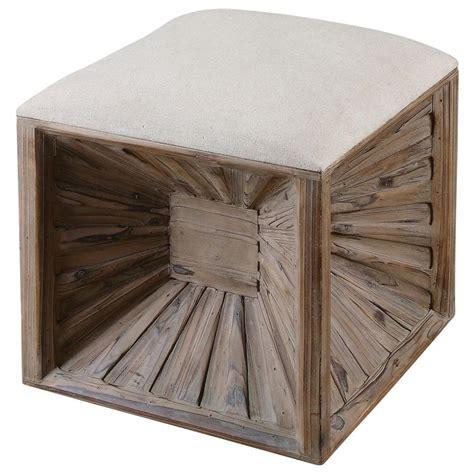 wood ottoman erik coastal beach wood burst cube cushion beige ottoman