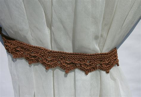 crochet curtain tie backs curtain tie backs brown crochet curtain tie backs set of 2