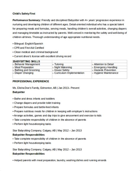 Babysitting Resume by 7 Sle Resumes Sle Templates
