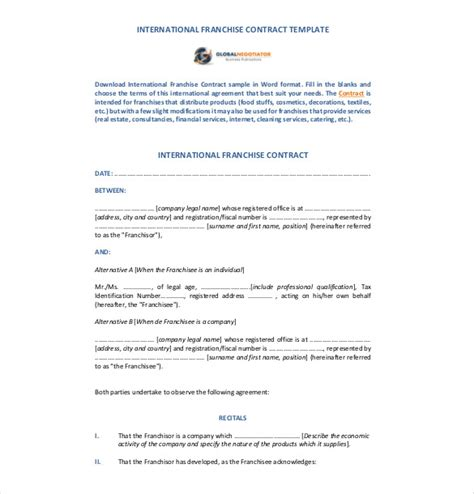 franchise agreement template franchise agreement template 10 free word pdf