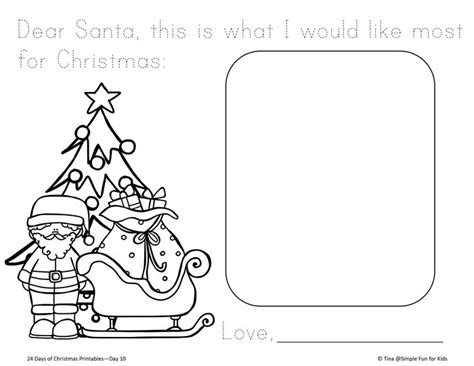 coloring pages letter to santa christmas countdown day 10 letter to santa printable