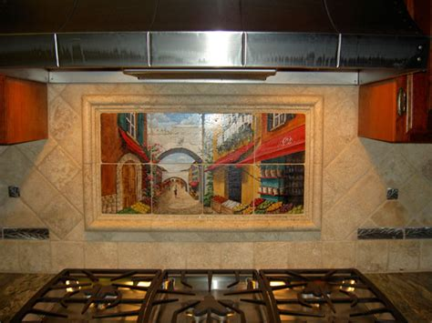 tile murals for kitchen backsplash tile murals in small spaces mediterranean kitchen
