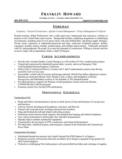 entry level construction resume sle genius regarding