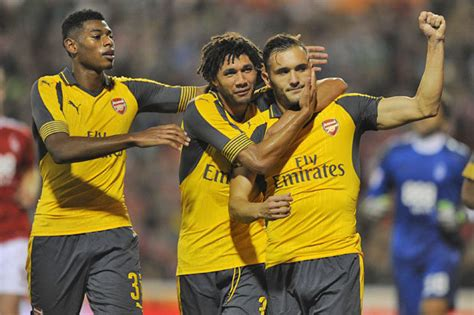 arsenal wearing yellow gunners   red  basle clash daily star