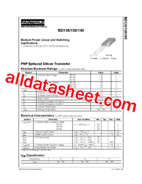 datasheet transistor bd140 bd140 datasheet pdf fairchild semiconductor