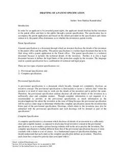 Patent Attorney Description by Drafting Of A Patent Specification