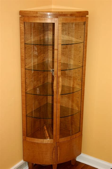 handmade corner curio cabinet by whim wood custom