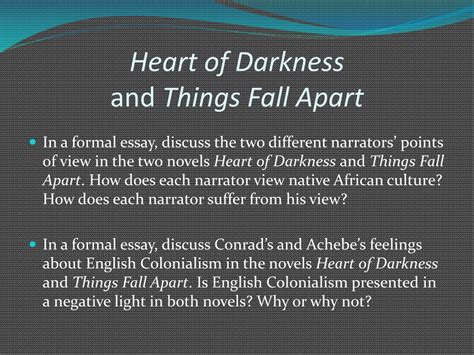 themes in heart of darkness and things fall apart heart of darkness essays light and dark
