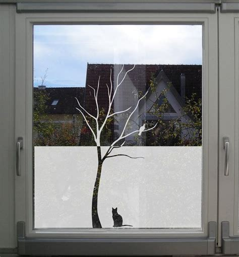 Fensteraufkleber Schaufenster by Decorative Window For Privacy Tree With Bird And Cat