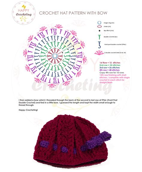 crochet pattern drawing free crochet hat pattern with bow happy crocheting