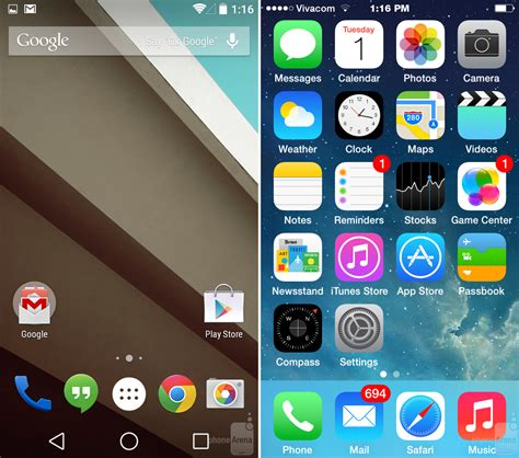 home screens for android android l vs ios 8 un confronto approfondito mobileos it