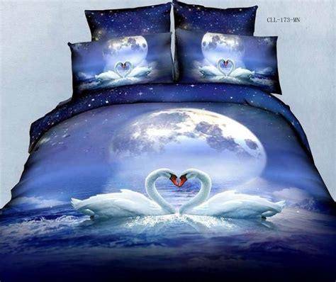 blue moon bedding 3d swan lake moon blue comforter bedding set queen bed linen sheet quilt duvet cover