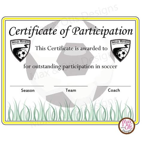 soccer certificate templates soccer certificate of participation editable pdf max