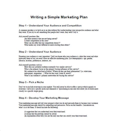 simple marketing plan template for small business simple marketing plan template 17 free word excel pdf
